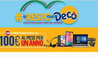 Logo Concorso #IoRestoconDecò : vinci ogni giorno buoni spesa da 100 euro e centinaia di prodotti tecnologici