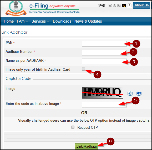 E-filling par aadhaar link kare