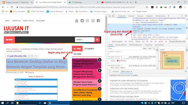 Tampilan Bagian yang akan Diubah dalam HTML