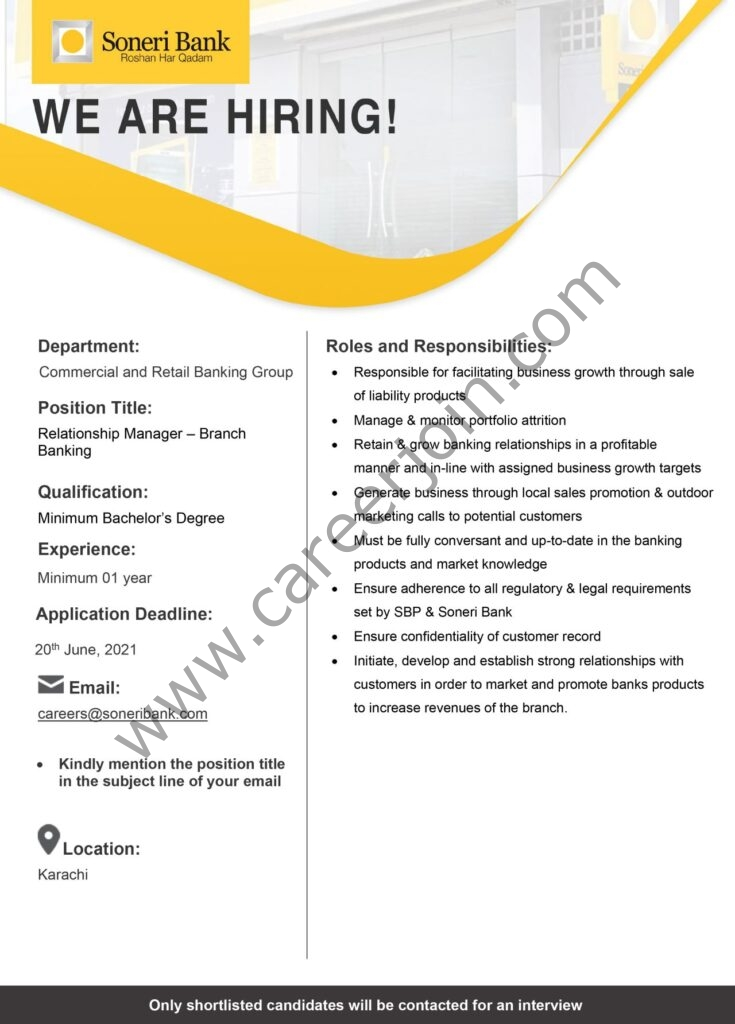 careers@soneribank.com - Soneri Bank Ltd Jobs 2021 For Relationship Manager Branch Banking - Soneri Bank Careers 2021