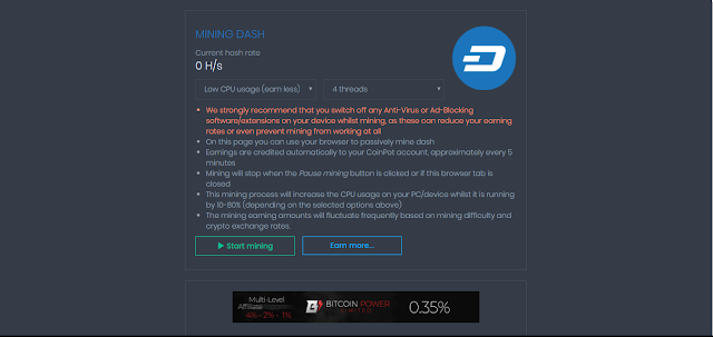 CoinPot - DASH mining