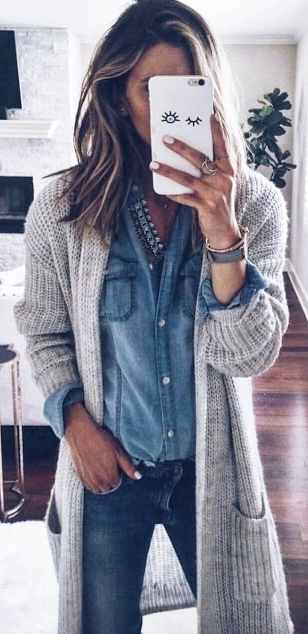 beautiful fall outfit / knit cardigan + denim shirt + jeans