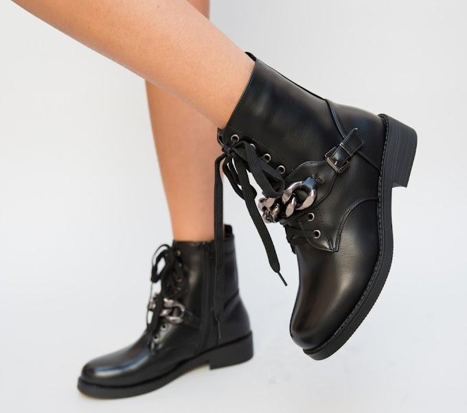 Ghete negre de iarna de femei cu accesoriu metalice la moda