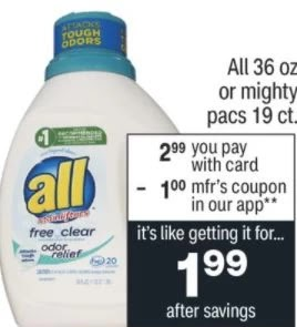 all laundry detergent cvs deal