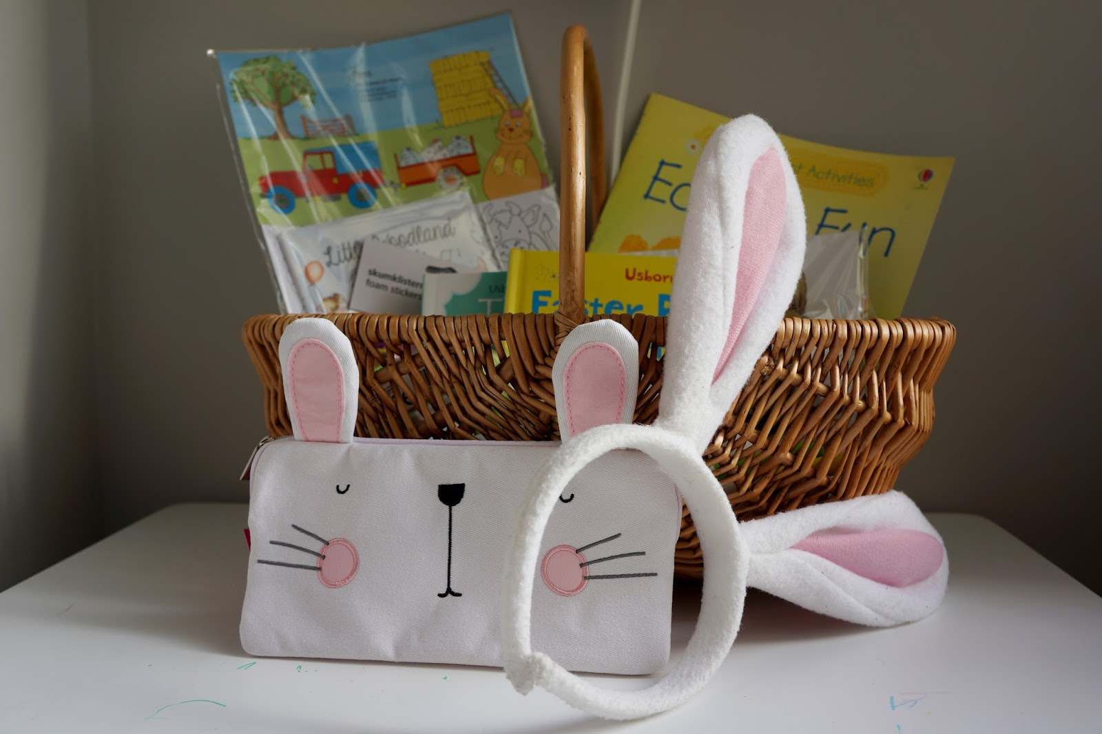 bunny ears and a bunny pencil case