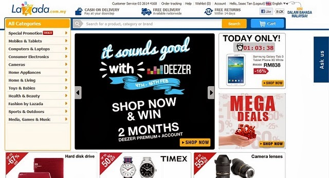Lazada's easy to navigate site, with virtually everything under the sun on sale