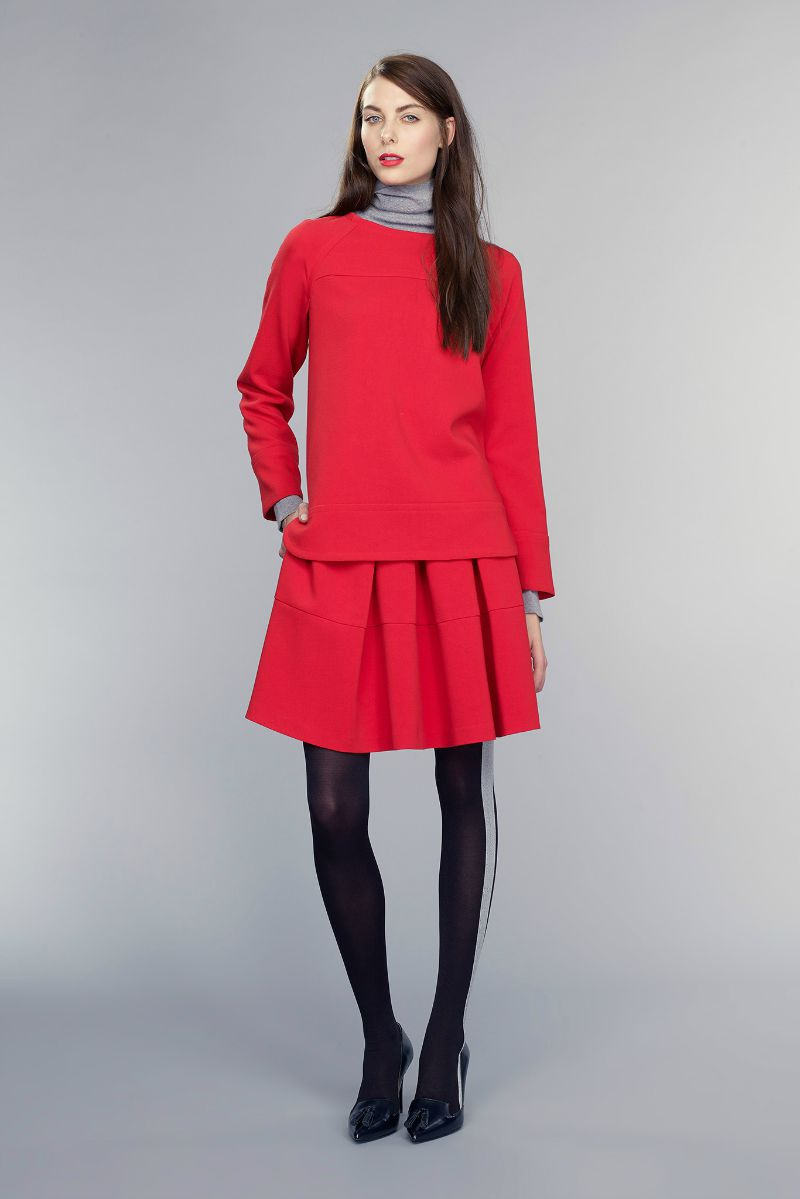 banana republic fall 2015 ootd outfit red top and skirt