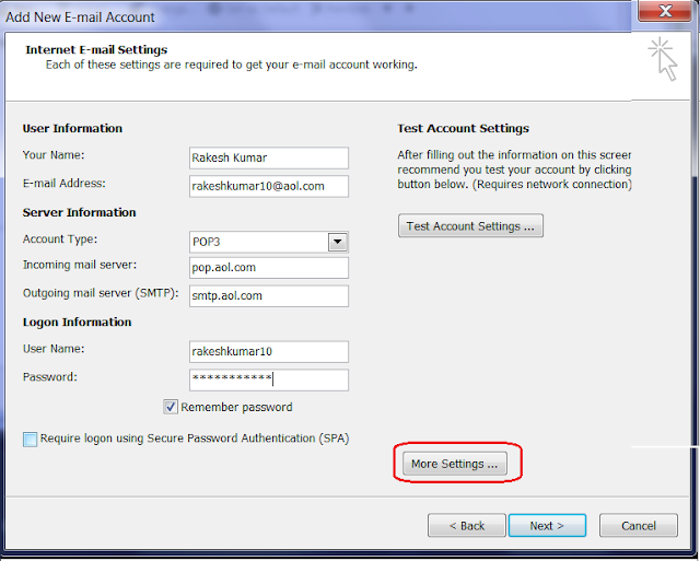 Configure AOL E-Mail Account in MS Outlook 2007