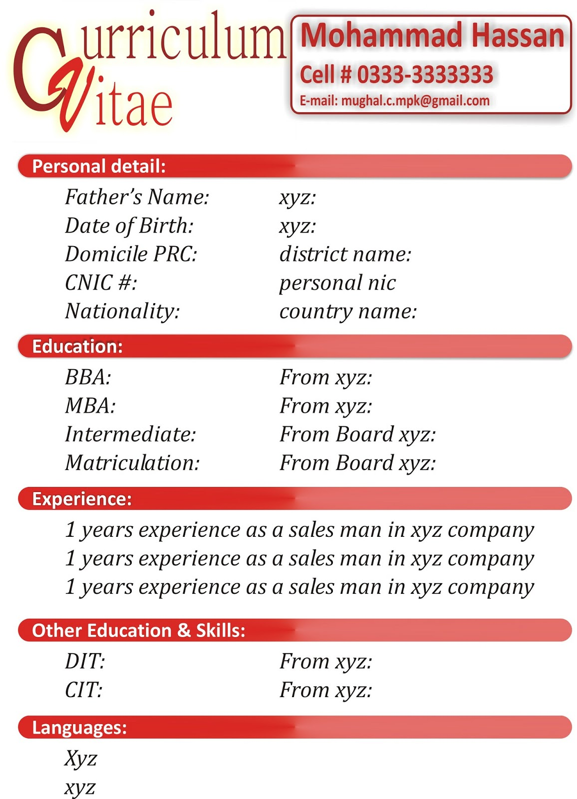 pattern of a simple resume