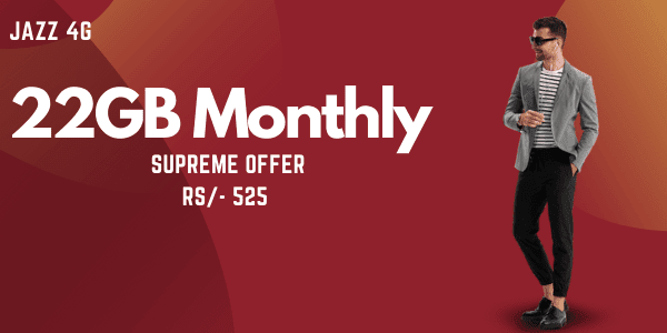 Jazz Monthly 22GB internet package, Monthly Supreme Offer