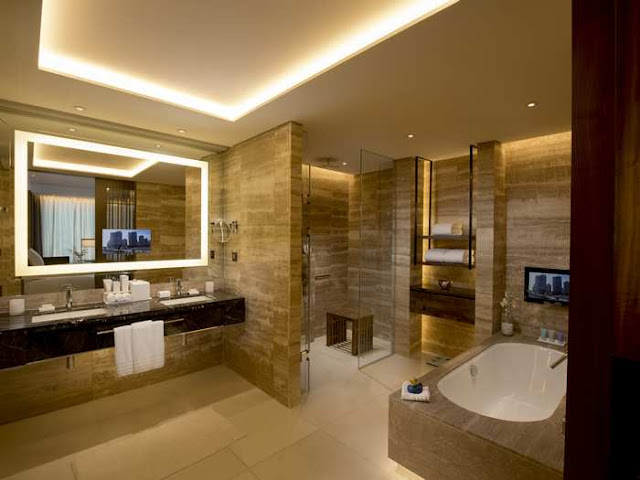 Stone cave-like bathroom