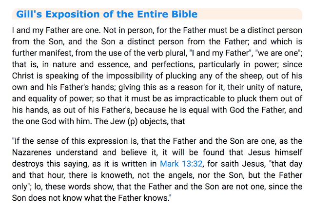 Gill's Exposition of the Entire Bible. John 10:30. 1.
