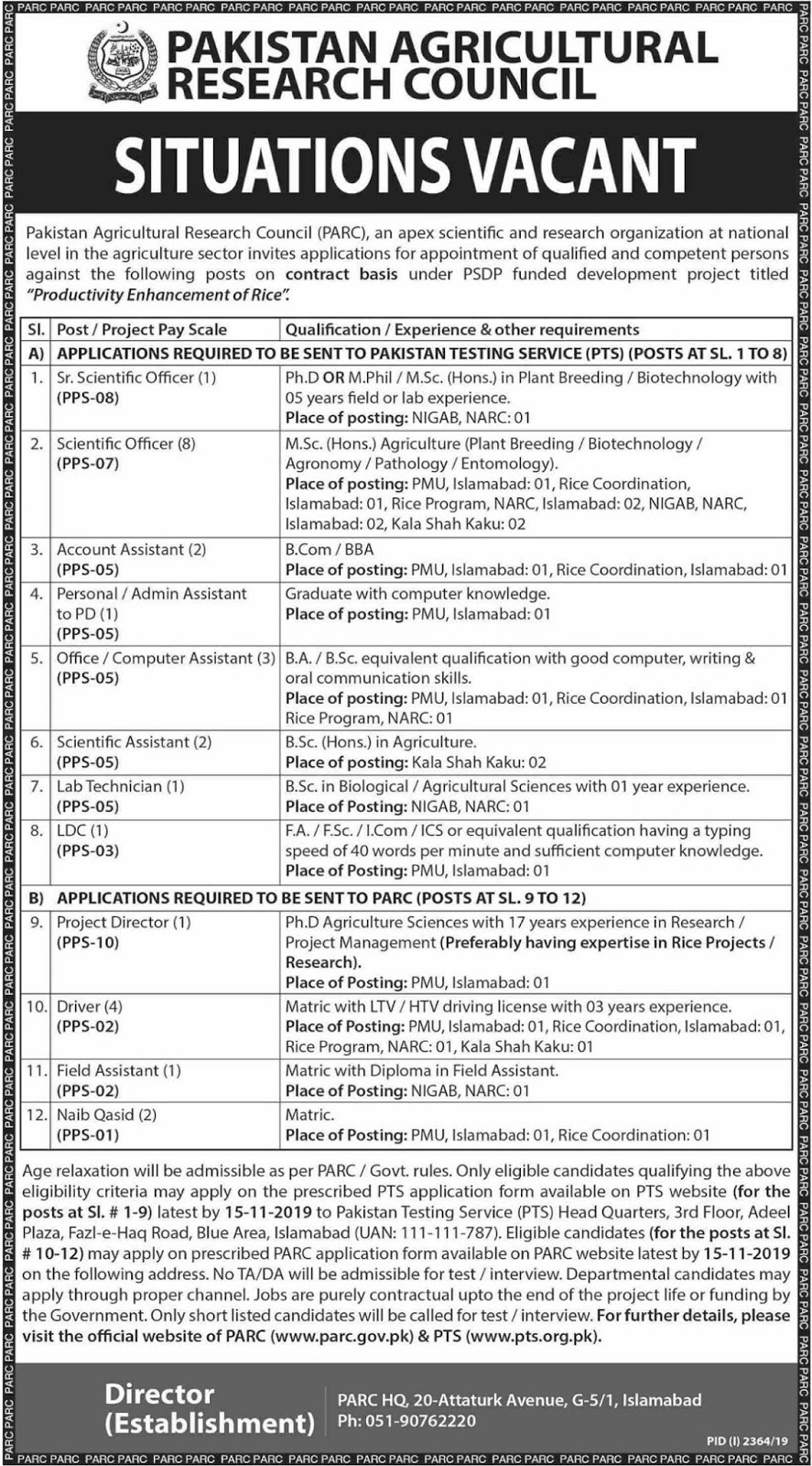 PARC NIGAB Islamabad Jobs 2019 for Computer Assistant