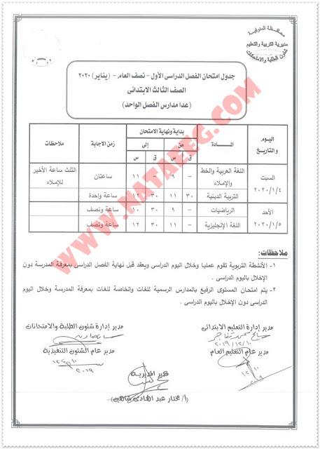 جداول امتحانات طلاب محافظة المنوفية 2020-2019 الترم الاول (جميع المراحل - ابتدائى واعدادى وثانوى ودبلومات)