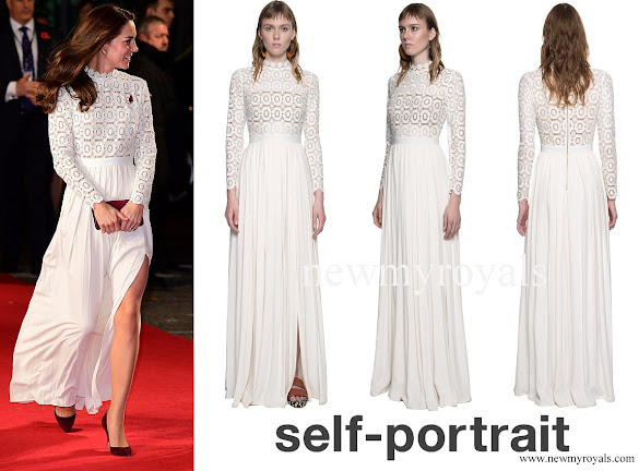 Kate Middleton wore Self-Portrait pleated crochet floral maxi dress