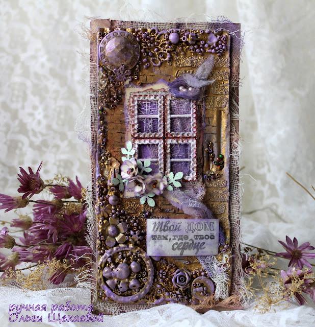 панно, микс медиа, окно, цветы, птица, гнездо