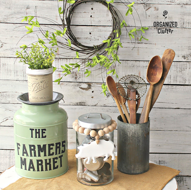 DIY Spring Decor Ideas and Jar  Bead Jewelry #farmhouse #farmhousedecor #thriftstorefinds #woodbeads #beadgarland #dixiebellepaint #IODtransfer