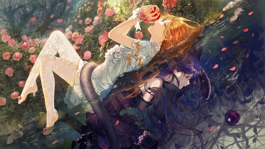Anime, Girl, Fantasy, Flowers, Apple, 4K, #281