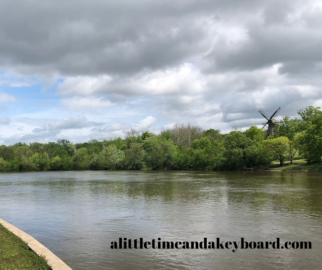 The Fox River Trail runs along the Fox River and right in front of the Fabyan Windmill.