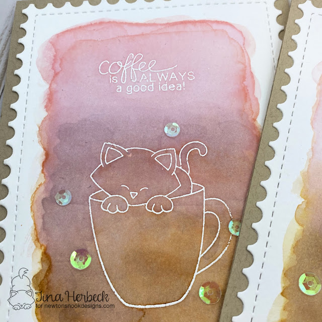 Coffee Card by Tina Herbeck | Newton Loves Coffee and Newton's Mug Stamp Sets and Framework Die Set by Newton's Nook Designs #newtonsnook #handmade