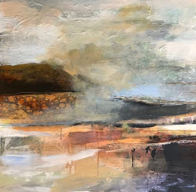 "Contemporary Abstract Landscape Art Painting, ""Layers of Silence"" by Intuitive Artist Joan Fullerton"