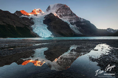 Mount Robson reflected in Berg Lake, Mount Robson Provincial Park, British Columbia, Canada.