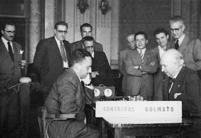 I Torneo Nacional de Ajedrez de Lérida 1948, partida Golmayo-Contreras