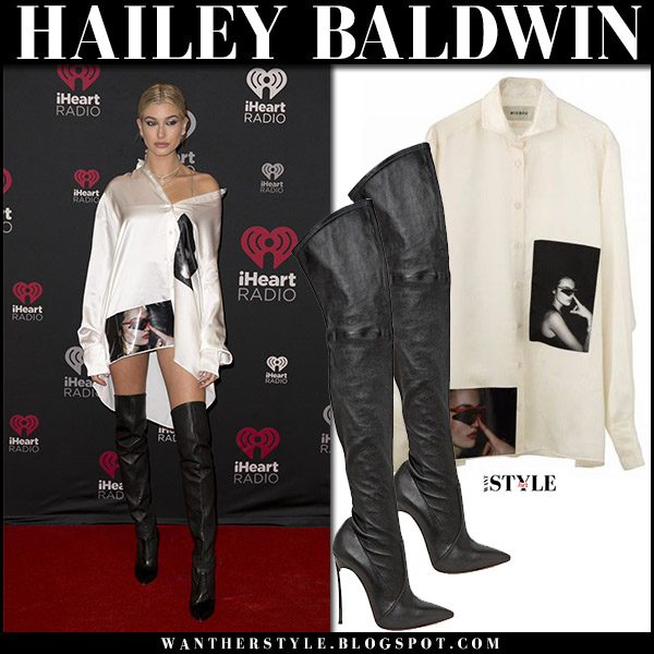 Hailey Baldwin in white silk shirt misbhv and black leather boots casadei red carpet style december 9