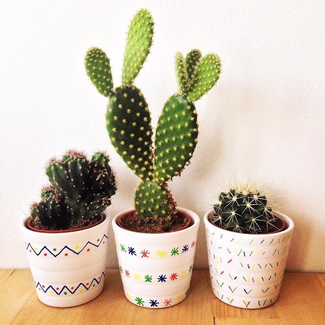 Cactus macetas pintadas