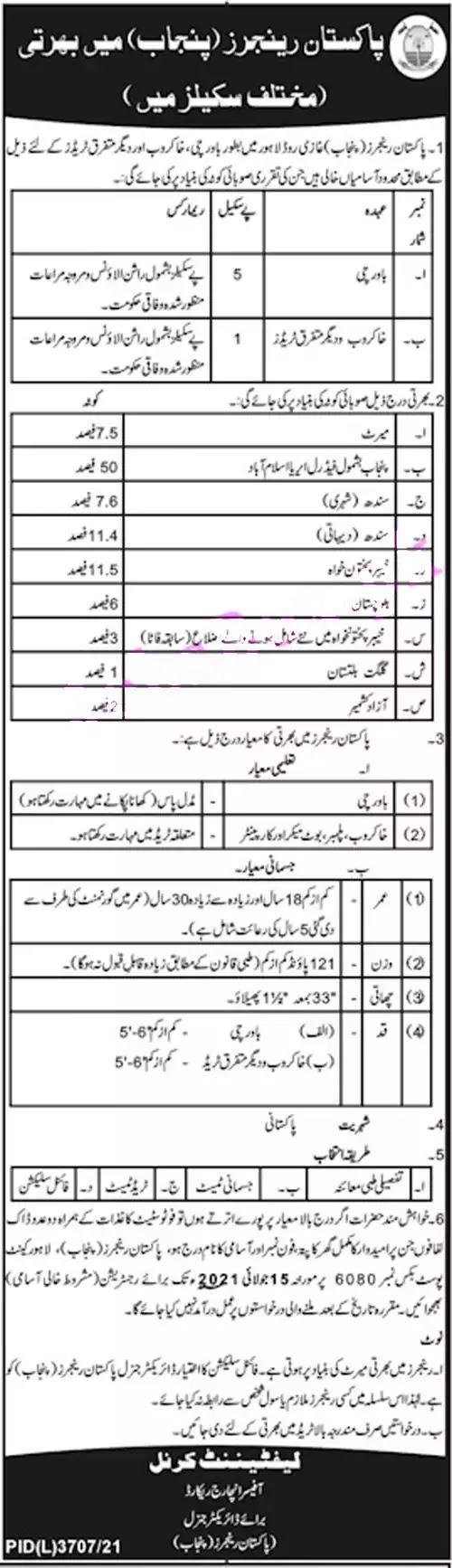 Pakistan Punjab Rangers Jobs 2021 || Pakistan Rangers Civilian Jobs 2021