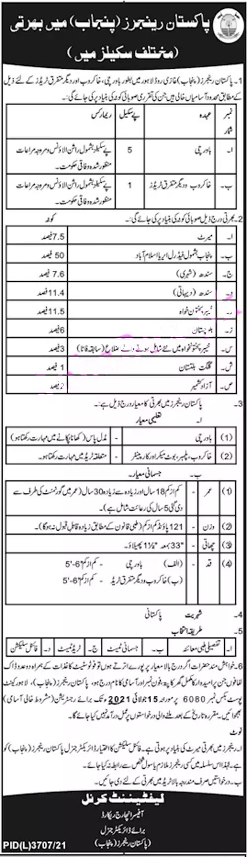 Pakistan Punjab Rangers Jobs 2021    Pakistan Rangers Civilian Jobs 2021