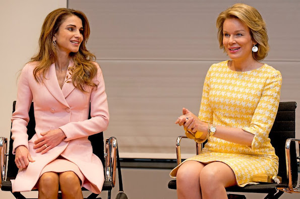 Queen Rania of Jordan during an official welcome ceremony at the Royal Palace in Brussels. Queen Mathilde wore Natan dress