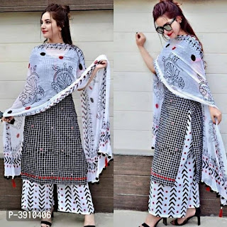 Kurta With Plazzo And Dupatta Set