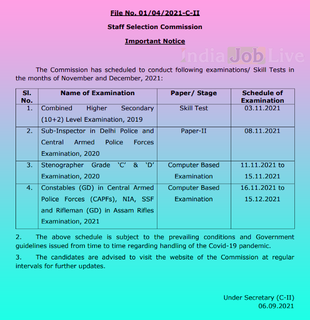 ssc-exam-schedule-2021-cpo-si-chsl-stenographer-and-constable-gd-announced-indiajoblive.com