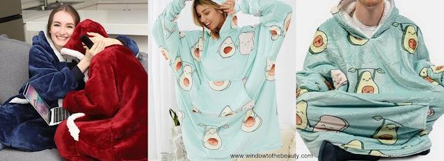 bluzy z kapturem typu blanket