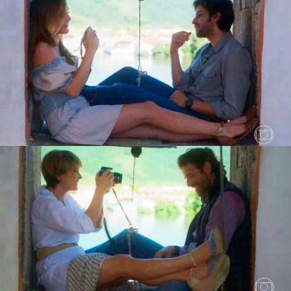 Helo e Pedro nas duas fases da novela
