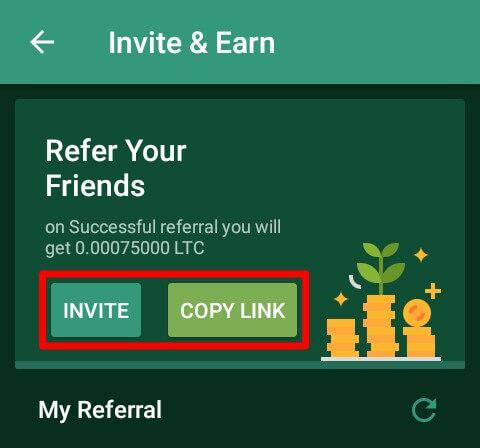 """Pada menu navigasi di pojok kiri atas, silahkan pilih """"Invite & Earn"""" dan silahkan ajak teman Anda untuk mendownload Aplikasi Sun Play menggunakan link refferal Anda."""