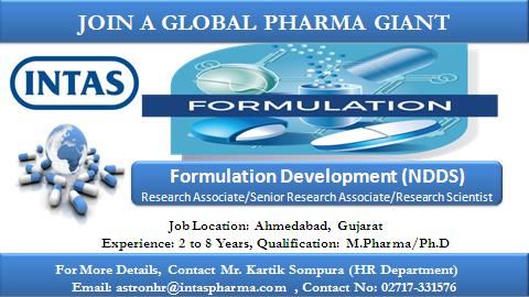 Intas Pharmaceuticals Ltd. Walk in Interview For M.Pharm, Ph.D., Formulation, Research Associate, Sr.Research Associate, Research Scientist