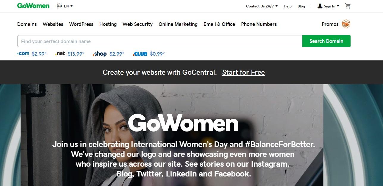 Godaddy celebrating Womens Day