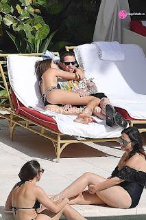 Kaia Gerber in tiny wet black bikini tongue kissing Pete Davidson in Miami Beach Pool Celebs.in Exclusive 059