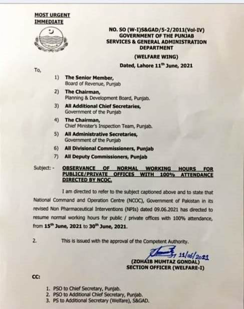 RESUMPTION OF NORMAL WORKING HOURS FOR PUBLIC AND PRIVATE OFFICES