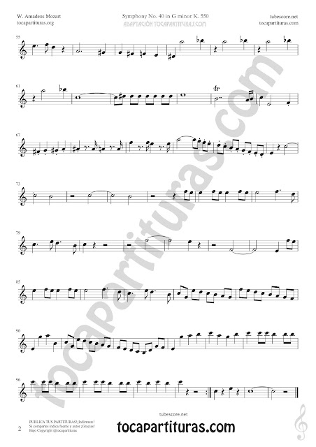 2  Symphony Nº40 de Mozart Sheet Music for Tenor Saxophone and Soprano Music Scores