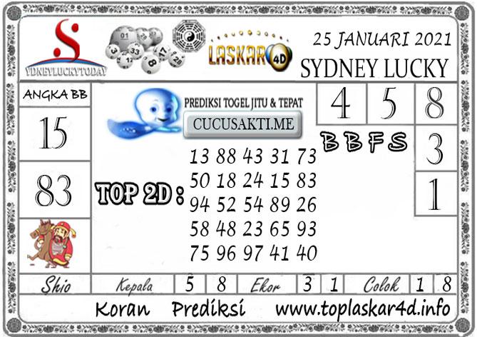 Prediksi Sydney Lucky Today LASKAR4D 25 JANUARI 2021