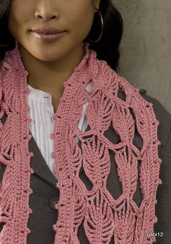 Bufanda Hojas Crochet