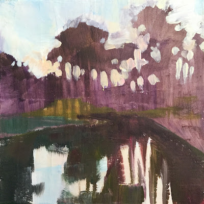 Plein air painting of trees reflected in a runoff pond made by Maryland landscape painter Barb Mowery.