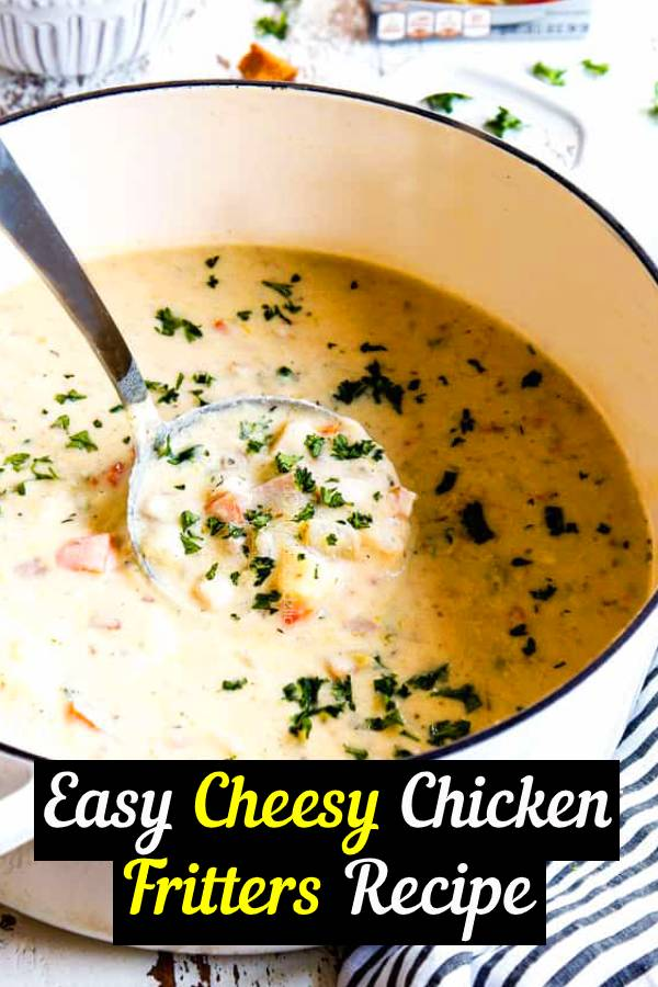 """This creamy Keto Chicken Soup, AKA Low-carb Chicken and """"Rice"""" Soup is pure comfort food and so fast and easy to throw together. If you have shredded chicken on hand, this soup will take you less than 15 minutes to make. #keto #chicken #chickensoup #soup #lowcarb"""