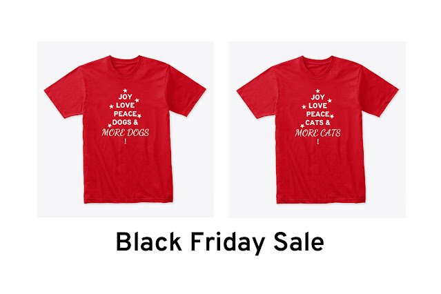 Two red-shirts that say joy, peace, love, dogs and more dogs (or cats and more cats) in the shape of a tree with stars. Discount available until 30 Nov.