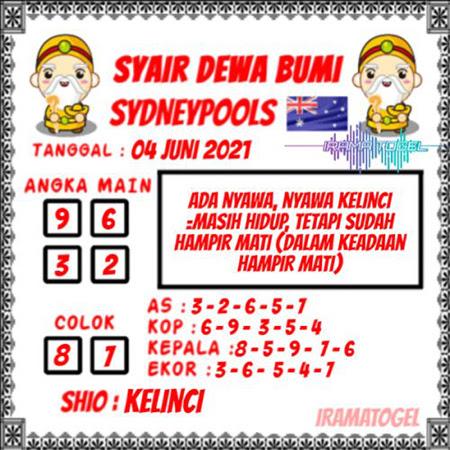 Syair Dewa Bumi Sydney Jumat 04 Juni 2021