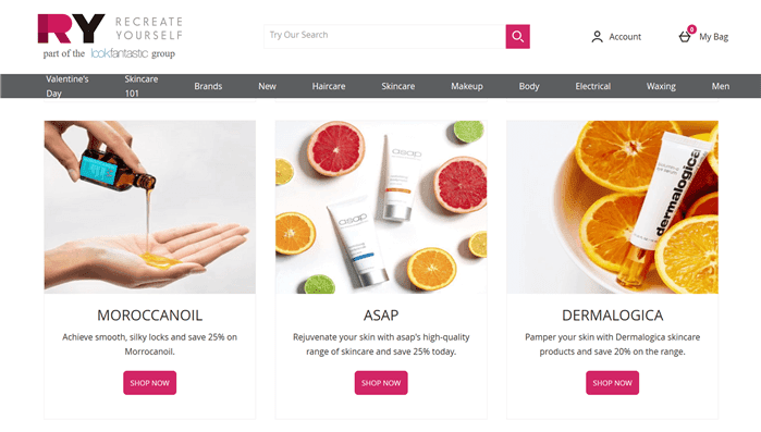 Paypal決算可能なオーストラリアのヘアケア商品通販サイトRYの通販ページ画像