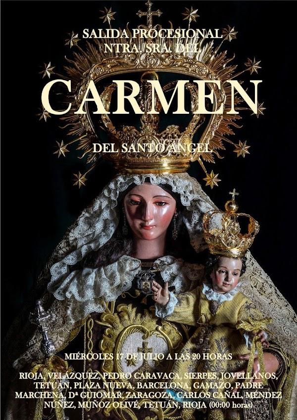 Cartel anunciador de la salida de la Virgen del Carmen del Santo Ángel de Sevilla